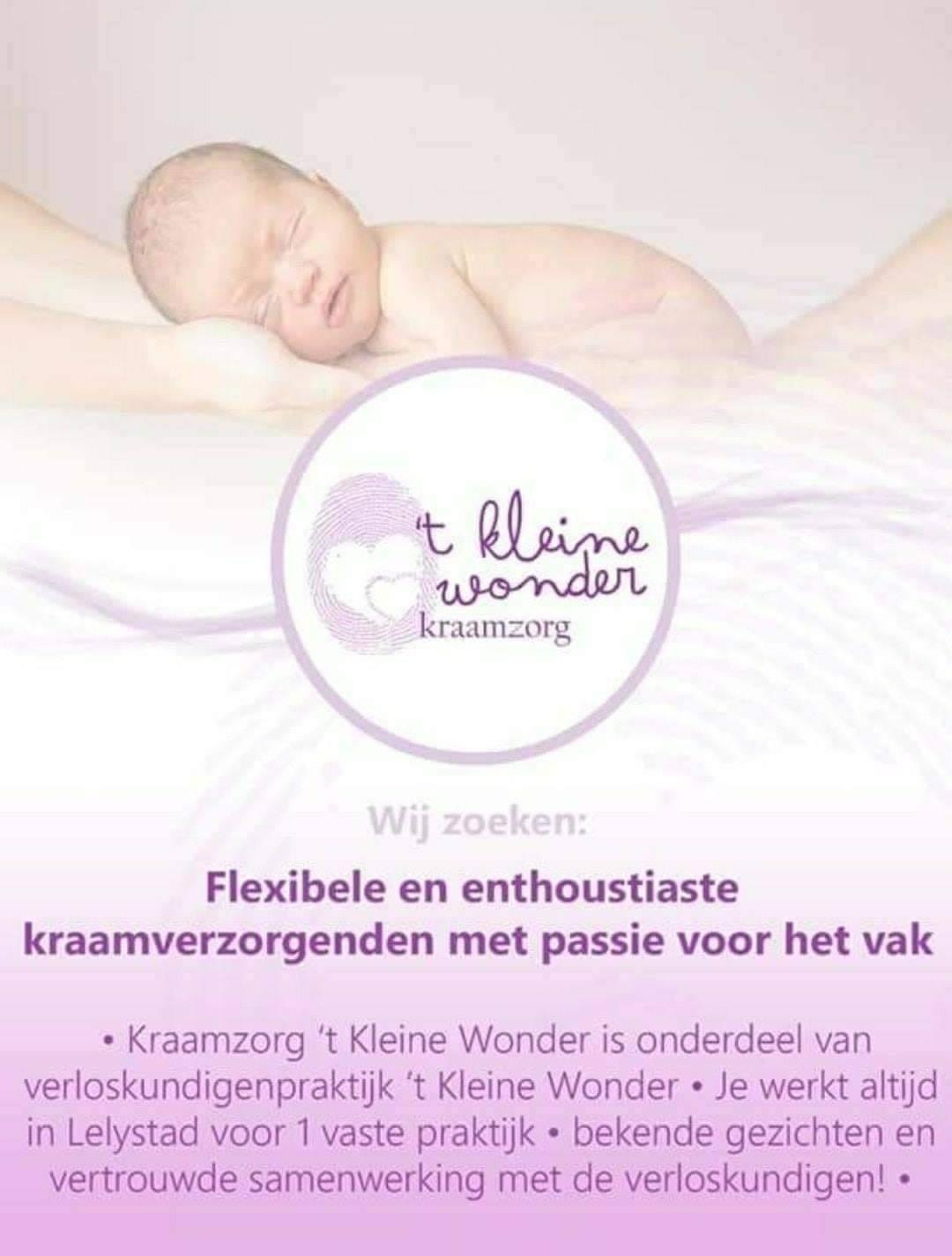 Vacature Kraamzorg 't Kleine Wonder Lelystad
