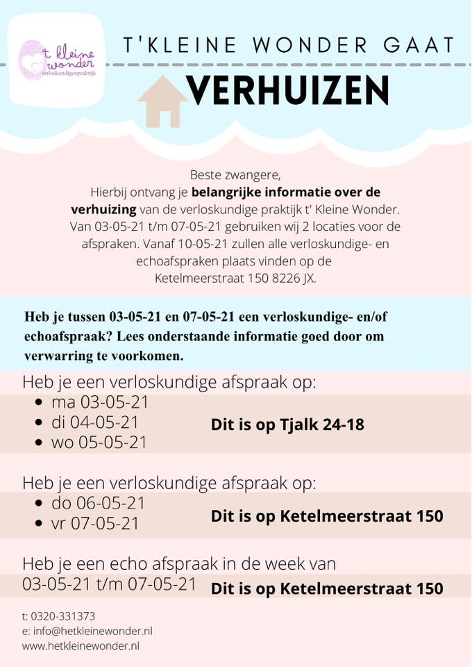 't Kleine Wonder - Verloskundigenpraktijk Lelystad - Verhuisbericht